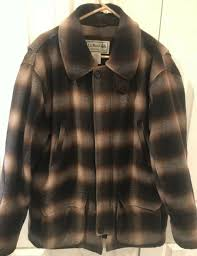 details about ll bean mens wool coat brown tan plaid thinsulate winter jacket size large l