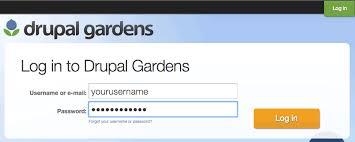 T The Drupal Gardens Login Page