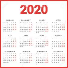 Calendar For 2020 Year On White Background Week Starts Monday