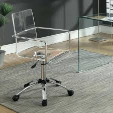 Acrylic Desk Chair With Arms Coaster Office Chairs  Steel Base Fine Furniture Interior Define Sale N