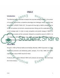 imax larger than life strategic management essay strategic management essay example
