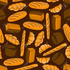 Bread Seamless Background Wallpaper With Bakery Pattern Vector