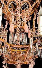 louis xvi superb antique french baguès style pink rock crystal and crystal chandelier for