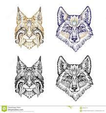 татуировка Dotwork волк и рысь иллюстрация штока иллюстрации