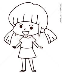 女の子 線画のイラスト素材 16346617 Pixta