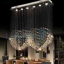 modern contemporary chandelier flush mount led pendant fixture crystal rain drop light for high ceiling living