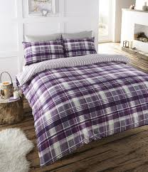 angus flanelette super king size quilt duvet cover and 2 pillowcase bedding bed set tartan check purple white plum co uk kitchen home