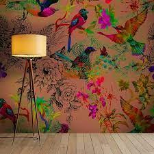 Buzzing Birds Wallpaper Mural in Gold ...