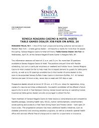 Resume Casino Dealer Seneca Niagara Casino Hotel Hosts Table Games Dealer Job Fair On 24