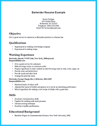 12 Free Bartender Resume Samples Different Designs For Photo New