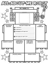 Small Picture All About Me Robot Coloring Page Within About Me Coloring Pages