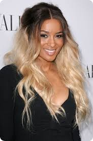 ciara black to blonde wavy hairstyle for medium ombre color hair extension clip on