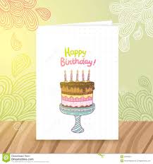 birthday postcard template happy birthday postcard template withcake stock vector