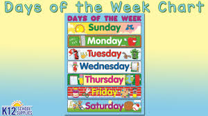 Days Of The Week Chart Best Kids Posters Days Of The Week Chart Teacher Supplies