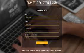 Sign Up Form Html Template Classy Register Form Responsive Widget Template