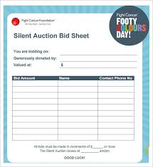 Silent Auction Bid Sheet Template Word Silent Auction Bid Sheet Template 29 Free Word Excel Pdf