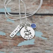 bat mitzvah necklace with date and birthstone personalized bat mitzvah necklace bat mitzvah gift hand sted jewelry sterling silver