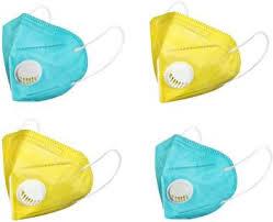 AAHANA Pack of 4, <b>KN95</b>, <b>N95</b>, <b>FFP2</b>, Yellow & Sea Green Color, 5 ...