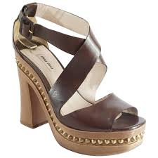 miu miu brown leather strappy sandal with wood chunky heel 41 for