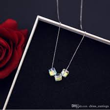 whole new fashion silver magic cube cone short pendant necklace for women female crystal chandelier necklace with simple decorative necklace