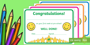 free preschool certificates free first week award certificates kindergarten pre