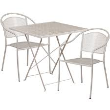 28 square light gray indoor outdoor steel folding patio table set with 2 round
