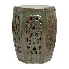 seaweed green hexagon ceramic garden stool