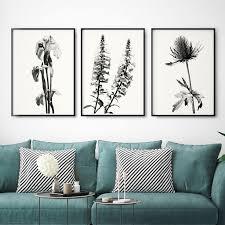 set of three botanical wall art prints black and white art prints