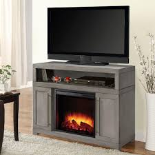 media electric fireplace tv stand in light weathered gray