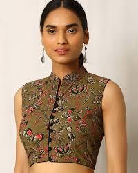 Best Designer Blouse Online Kalamkari Print Sleeveless Cotton Blouse Sari Blouse