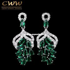 best quality handmade luxury big dropping g flower shaped micro pave royal blue green cubic zircon stones earrings for women cz142 at