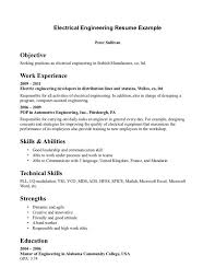 Skills For Engineering Resumes Electrical Engineering Resume Objective Example Resume Templates