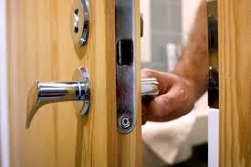 person locking door. Bathroom Door. Person Locking Door