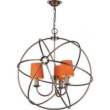 orb 3 light copper gyroscope ceiling pendant with orange silk shades