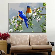 frame diy digital oil painting by numbers acrylic colorful birds paint abstract modern wall art canvas on colorful birds canvas wall art with frame diy digital oil painting by numbers acrylic colorful birds