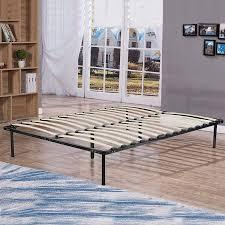 Bed Frame Wood Platform Bed Frame Black Steel Frame With Wood Slat ...