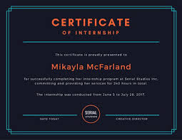 Black Internship Certificate Templates By Canva