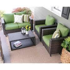 4 piece wicker set. Fine Set Leisure Made Draper 4Piece Wicker Patio Conversation Set With Green  Cushions Inside 4 Piece A