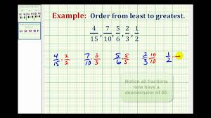 Fractions From Least To Greatest Chart Example Ordering Fractions With Different Denominators From Least To Greatest