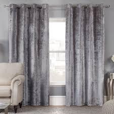 elegance allure silver crushed velvet luxury eyelet curtains pair