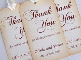 thank you tags for wedding favors personalized wedding favor gift tags set of 6 thank you tags