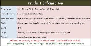 Sedie Pieghevoli Francesi : Stile francese royal trono re sedie per hotel sale e da sposa
