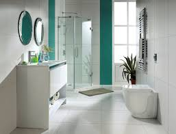 simple bathroom remodel. Simple Bathroom Remodeling Ideas Mixed With Double Vanity Sinks Under Round Mirror In Mosaic Edge Details Also Corner Shower Area Transparent Remodel