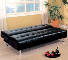 armless faux leather futon sofa bed open