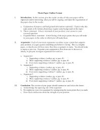 Sample Thesis Outline Research Paper