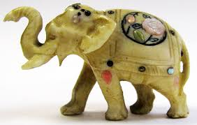 miniature indian ivory elephant with mother of pearl inlay pendant necklace