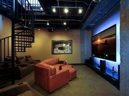 lighting ideas ceiling basement media room. Lounge-Worthy Basements : Interior Remodeling HGTV Remodels, This Multipurpose Media Room Retains An Industrial Feel, Featuring A Spiral Staircase And Lighting Ideas Ceiling Basement T