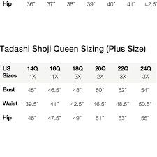 Tadashi Size Chart Size Chart