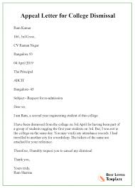 10 Appeal Letter For College Template Format Sample Example