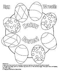 Easter Egg Wreath Coloring Page Digital Stamps Easter Coloring